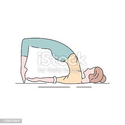 Bridge Pose Setu Bandha Sarvangasana color line icon. Inverted back-bending asana in hatha yoga and modern yoga as exercise. UI UX GUI design element.
