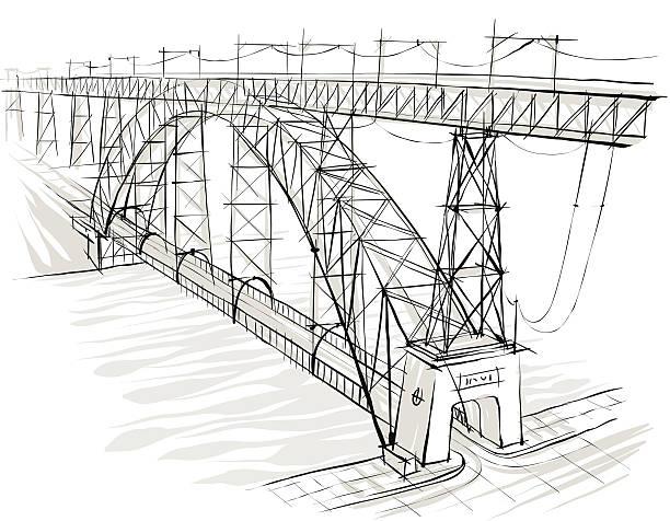 Bridge. Road vector art illustration