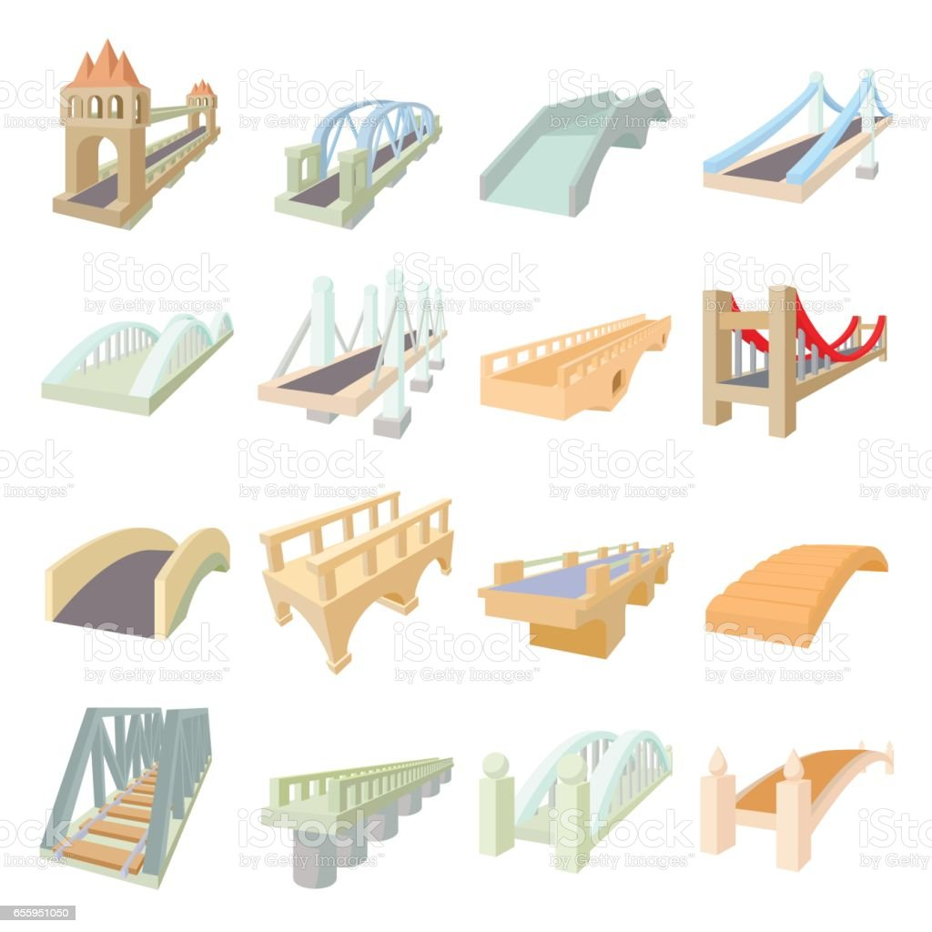 Bridge set icons vector art illustration