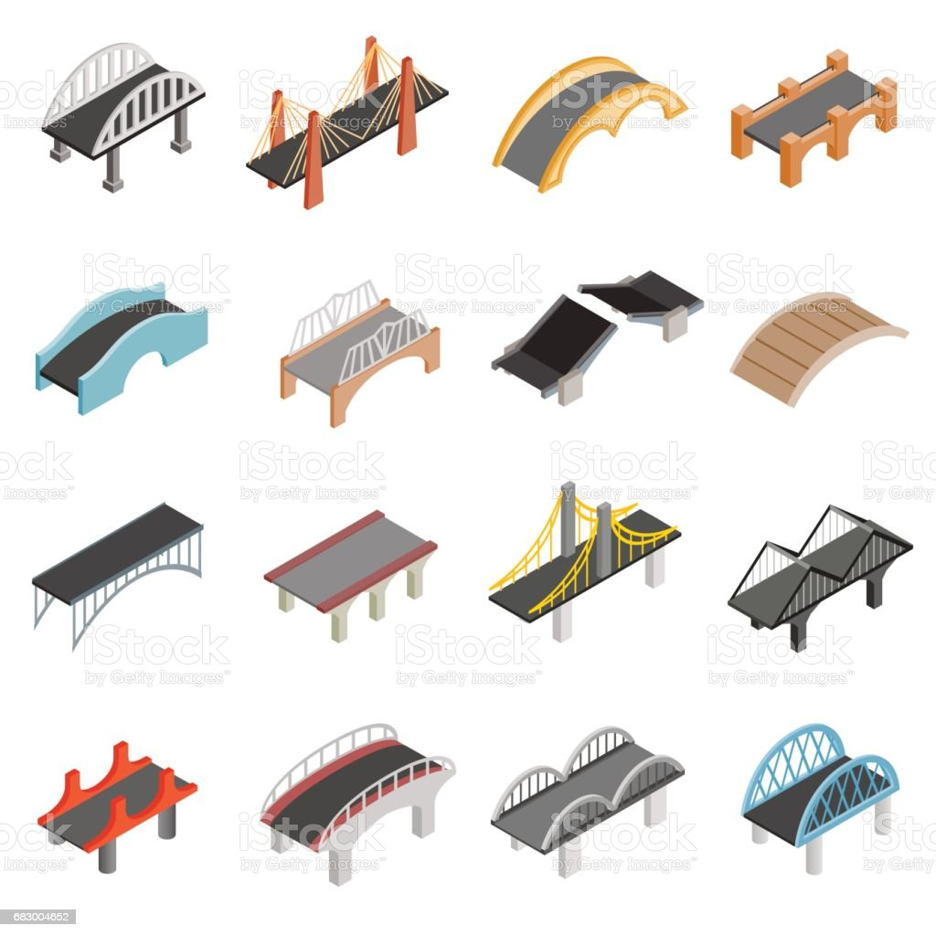 Ponte conjunto de ícones - ilustração de arte em vetor