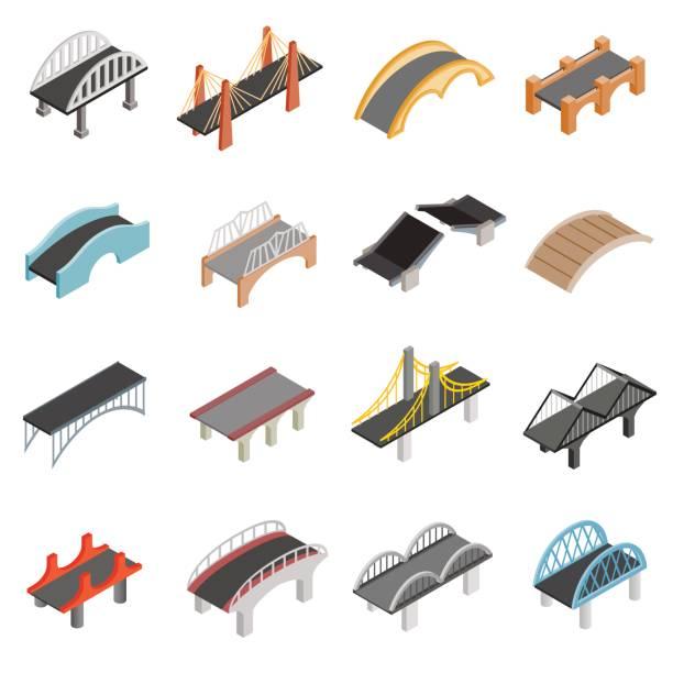 bridge set icons - bridge stock illustrations