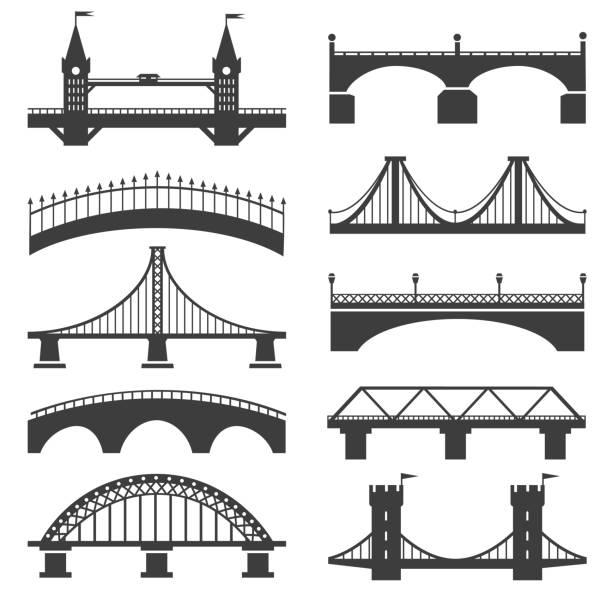 bridge silhouette icons - bridge stock illustrations