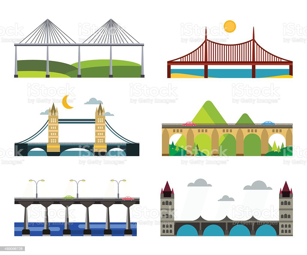 Bridge silhouette vector illustration set vector art illustration