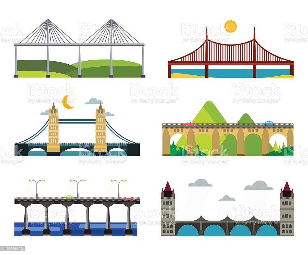 Ponte silhueta de ilustração vetorial conjunto - ilustração de arte em vetor