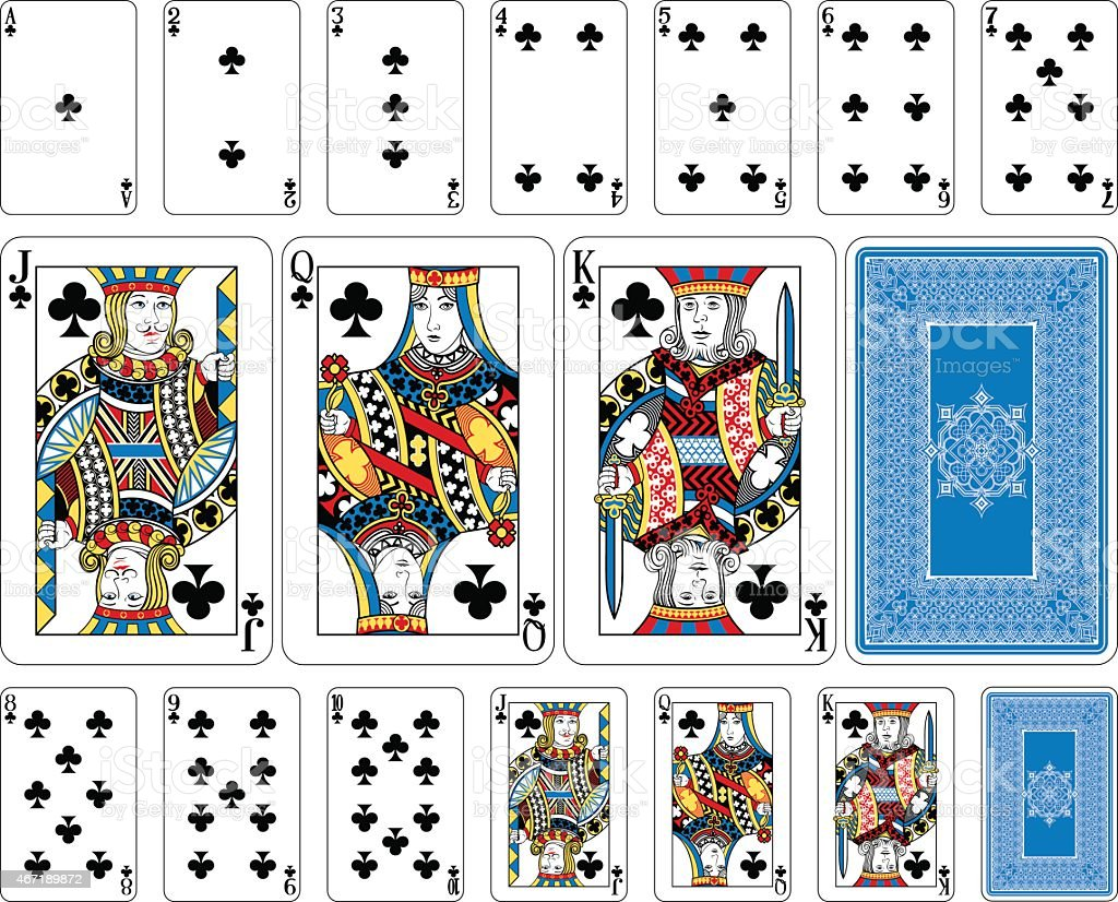 Bridge size Club playing cards plus reverse vector art illustration