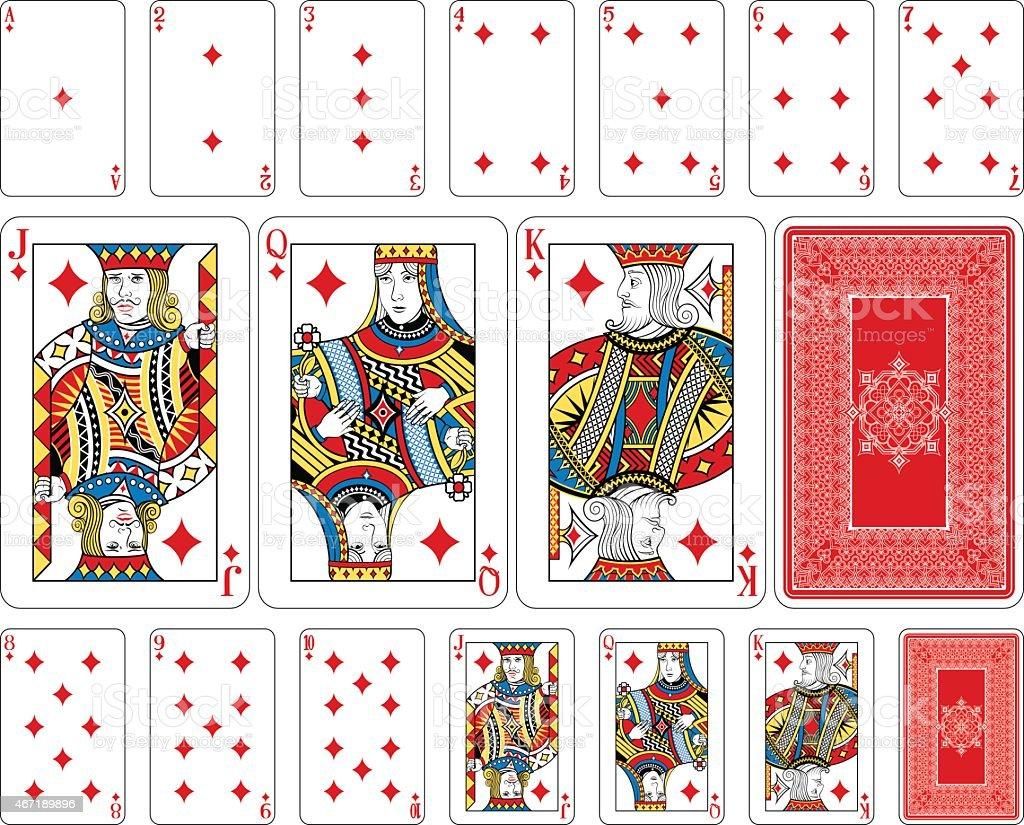 Bridge size Diamond playing cards plus reverse vector art illustration
