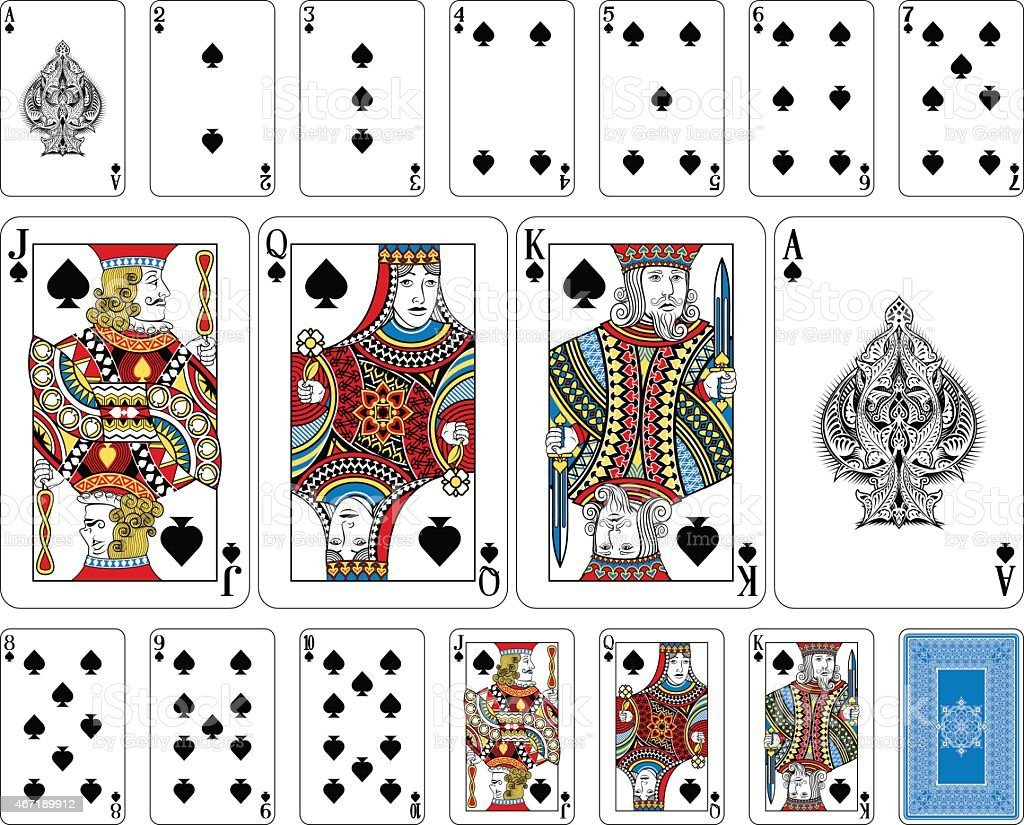 Bridge size Spade playing cards plus reverse vector art illustration