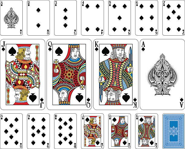 steg spade spielkarten und rückseite - kartenspielen stock-grafiken, -clipart, -cartoons und -symbole