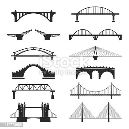 Bridge urban construction set, city landmark view. Transportation structure. Vector line art illustration isolated on white background