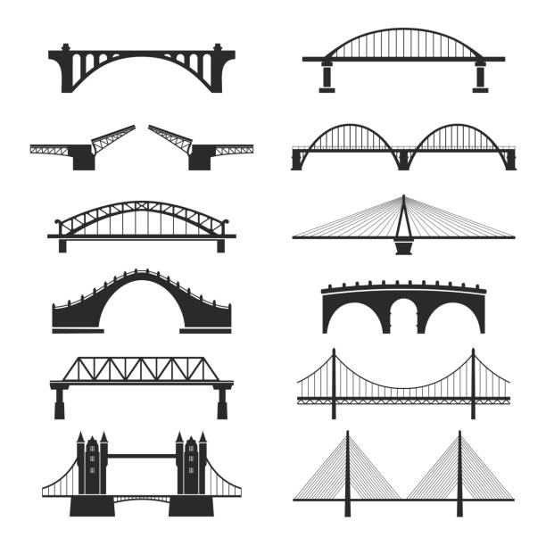 bridge urban construction set, city landmark view - architecture clipart stock illustrations