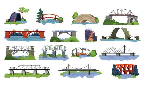 브릿지 벡터 브리지 도시의 크로스 오버 건축과 교통 그림 세트 강 다리-건물 차도 흰색 배경에 고립의 다리 건설 - bridge stock illustrations