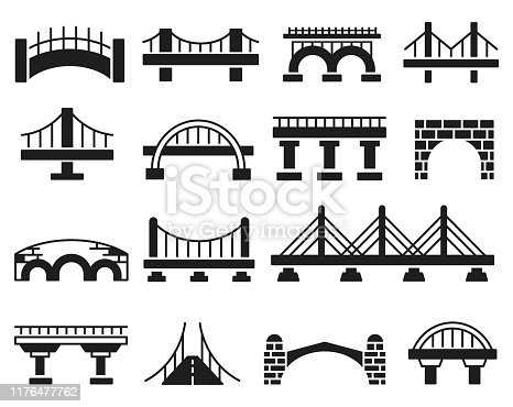 Bridge vector icon set ,illustration