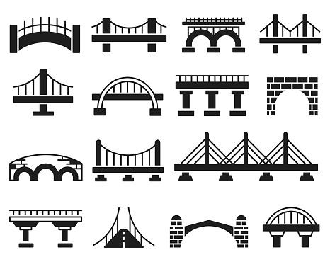 Bridge vector icon set