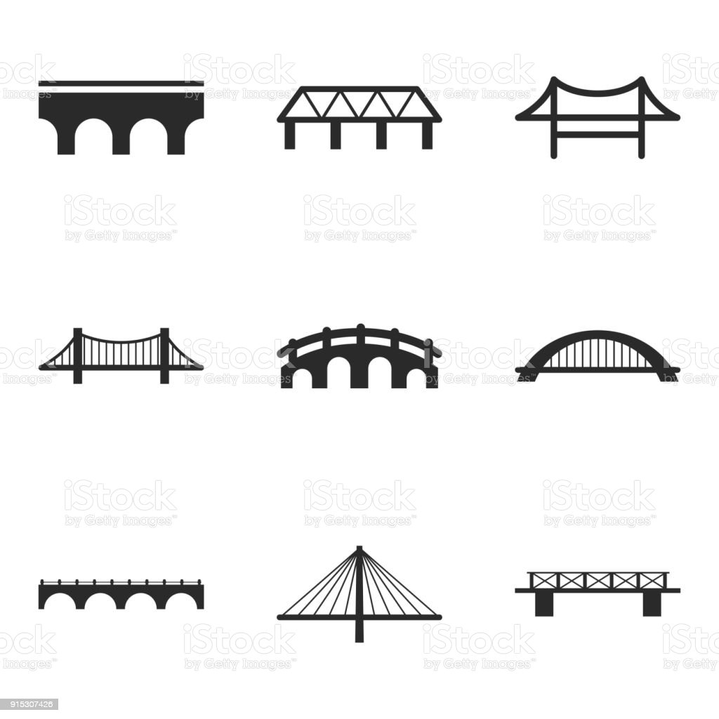 Bridge vector icons. vector art illustration