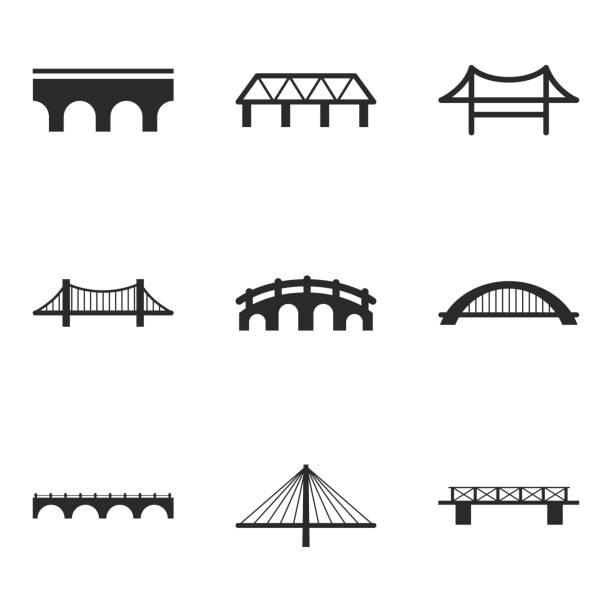 브릿지 벡터 아이콘입니다. - bridge stock illustrations