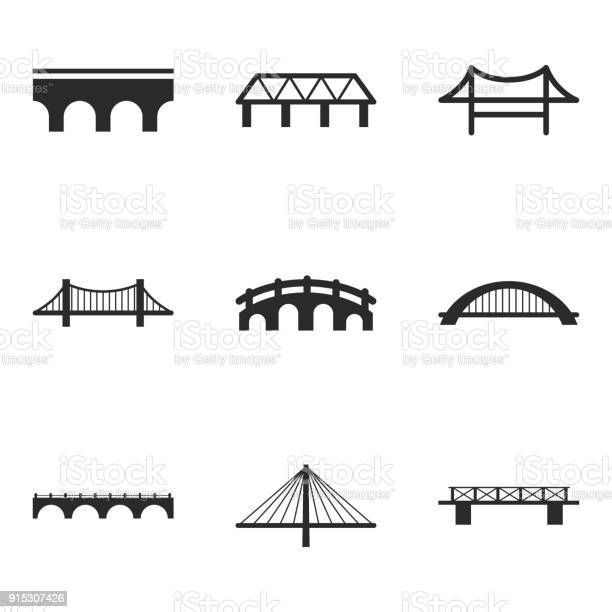 Bridge vector icons. Simple illustration set of 9 bridge elements, editable icons, can be used in logo, UI and web design