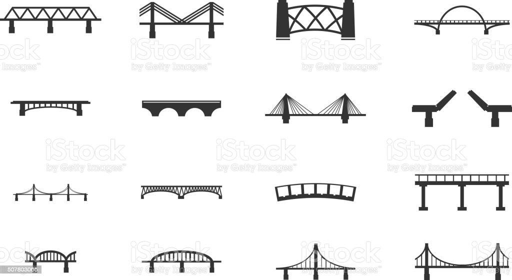 Pontes Conjunto de ícones de - ilustração de arte em vetor