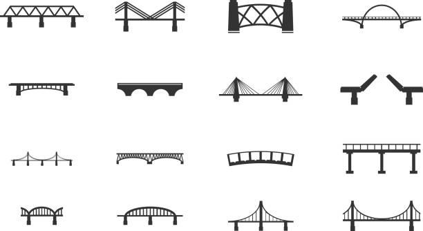mosty ikony zestaw - bridge stock illustrations
