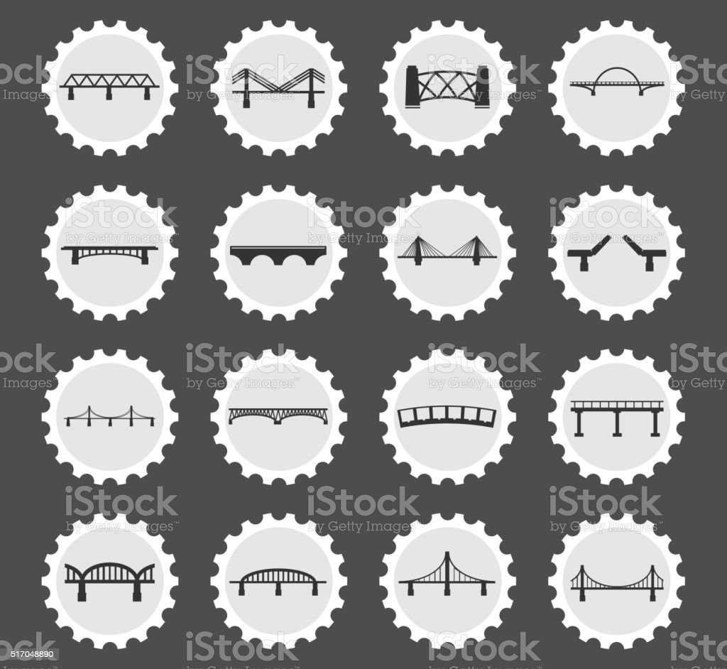Bridges icons set vector art illustration