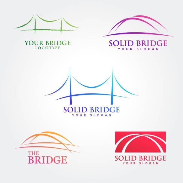 bridges illustration symbol collections - bridge stock illustrations