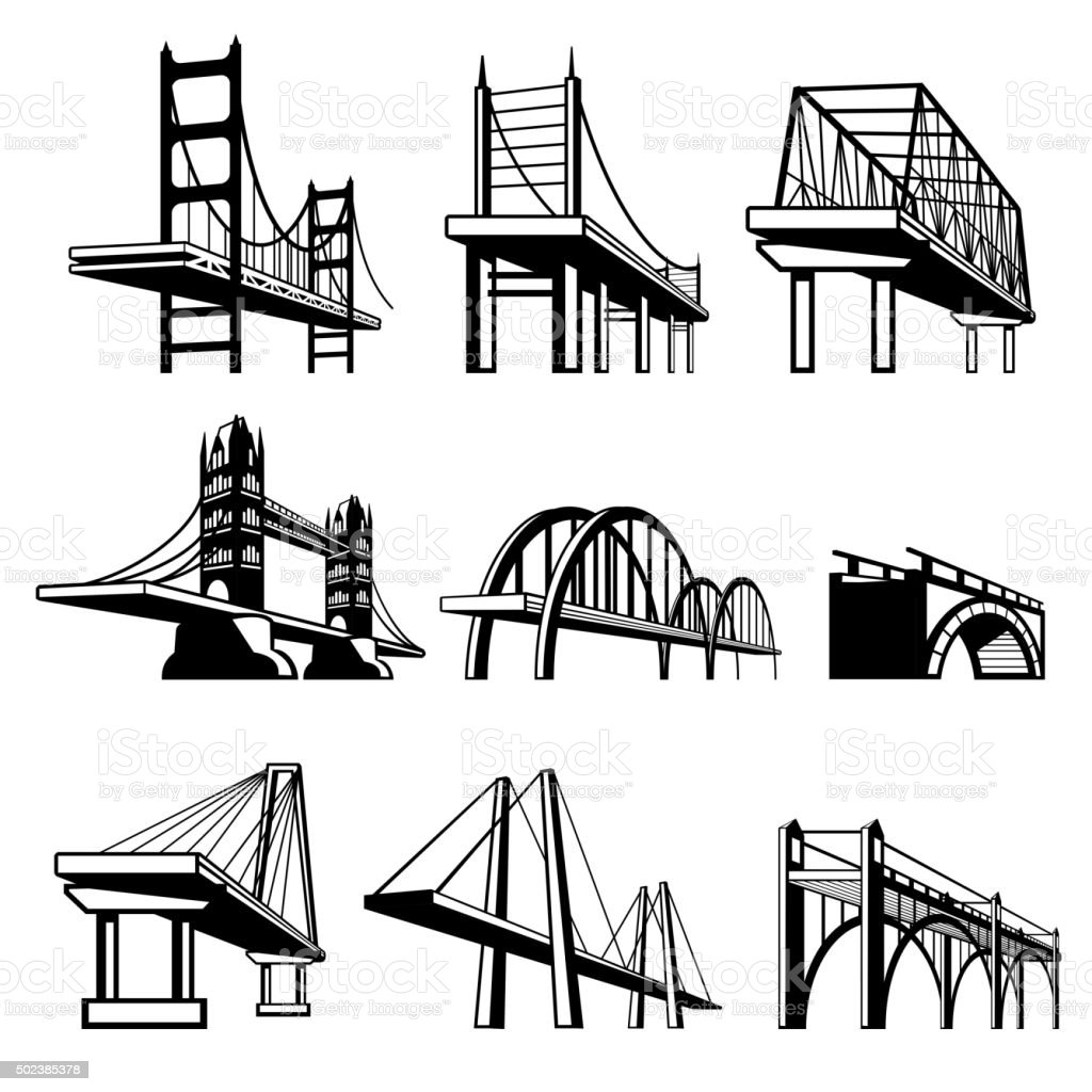Bridges in perspective vector icons set vector art illustration