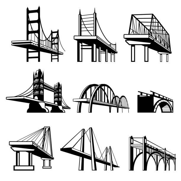 Bridges in perspective vector icons setvectorkunst illustratie