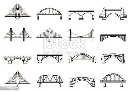 Bridges line icon set, city architecture construction. Structure built over a railway, river, road. Vector line art illustration isolated on white background