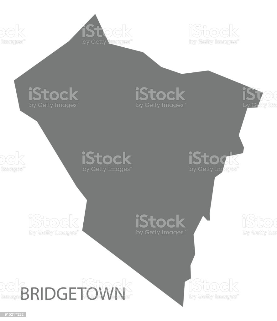 Bridgetown Map Of Saint Vincent And The Grenadines Grey Illustration