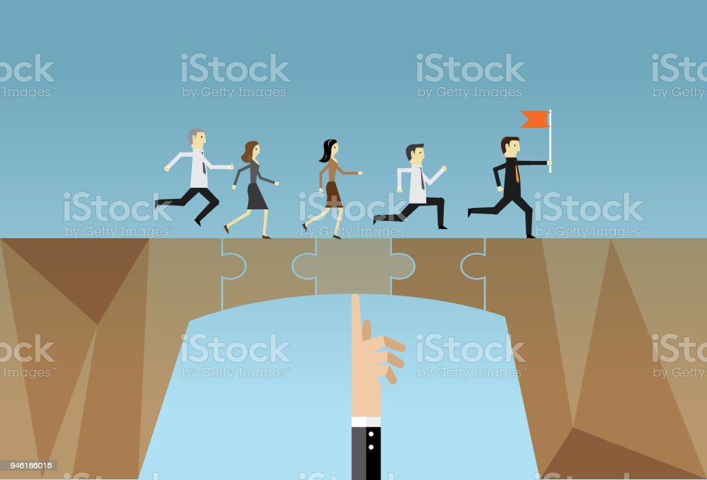 Bridging jigsaw puzzle vector art illustration