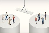 Two groups of people stand on separate business silos, as a bridge is lowered from a crane to span the gap.