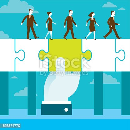 A giant hand holding huge jigsaw puzzle piece to support business team to cross the gap.