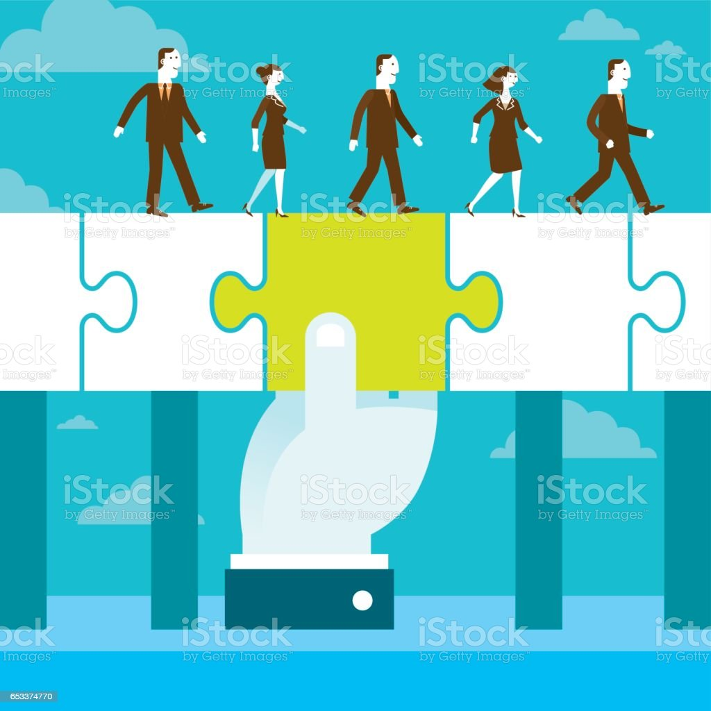 Bridging The Gap Jigsaw Puzzle Piece | New Business Concept vector art illustration