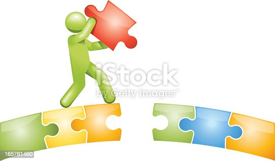 Vectored man completing a puzzle bridge. This format can be blown up to any size without loss of quality. Global colour used throughout.
