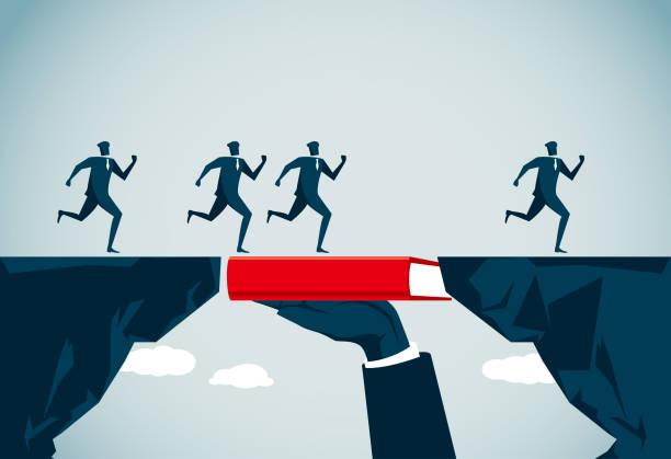 bridging the gap commercial illustrator cliffs stock illustrations