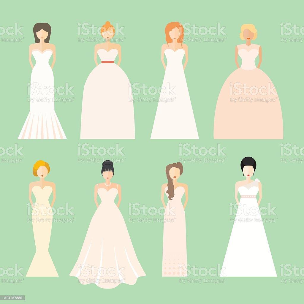 Brids In Wedding Dresses Stock Illustration   Download Image Now ...