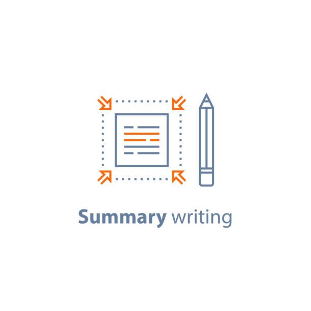 kurze informationen, textbearbeitung, zusammenfassung schreiben konzept, kurz und schnell lesen, werbetexte, liniensymbol - korrekturlesen stock-grafiken, -clipart, -cartoons und -symbole