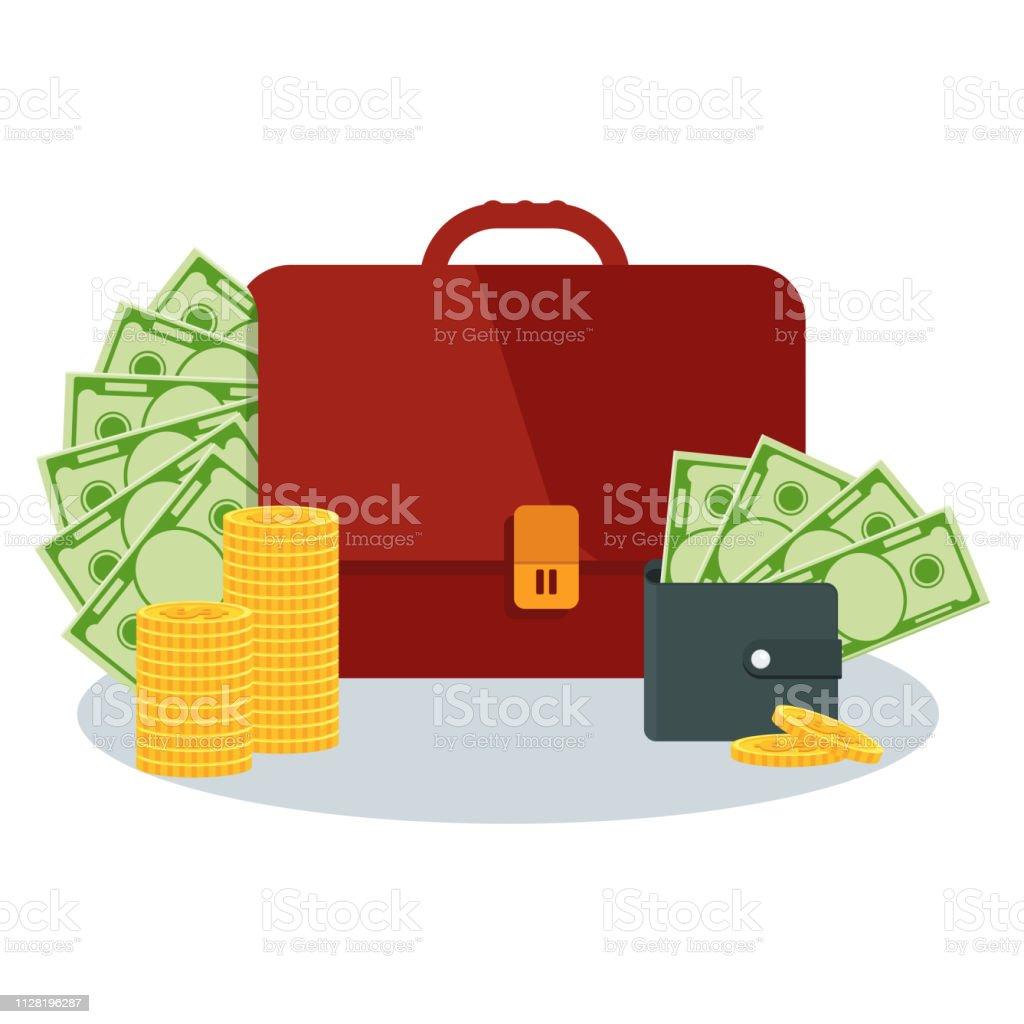 Portfölj Och Väska Med Pengar Flat Vektor Tecknad Pengar Illustration vektorgrafik och fler bilder på Amerikanska sedlar
