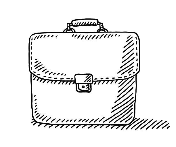 Briefcase Drawing Hand-drawn vector drawing of a Briefcase. Black-and-White sketch on a transparent background (.eps-file). Included files are EPS (v10) and Hi-Res JPG. business stock illustrations