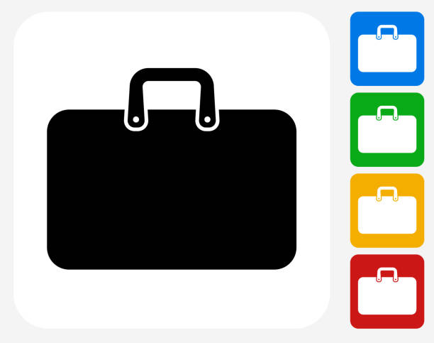 aktentasche symbol flache grafik design - laptoptaschen stock-grafiken, -clipart, -cartoons und -symbole
