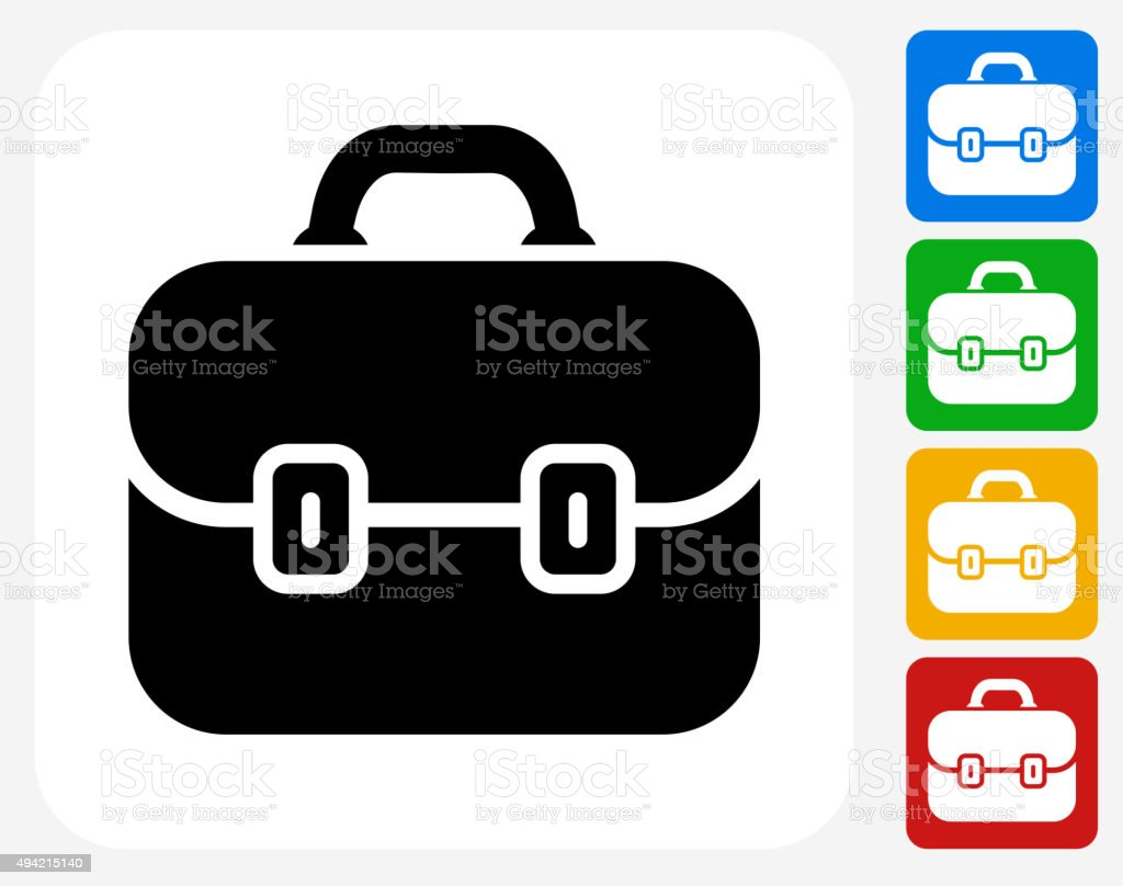 Briefcase Icon Flat Graphic Design vector art illustration