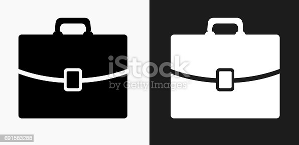Briefcase Icon on Black and White Vector Backgrounds. This vector illustration includes two variations of the icon one in black on a light background on the left and another version in white on a dark background positioned on the right. The vector icon is simple yet elegant and can be used in a variety of ways including website or mobile application icon. This royalty free image is 100% vector based and all design elements can be scaled to any size.
