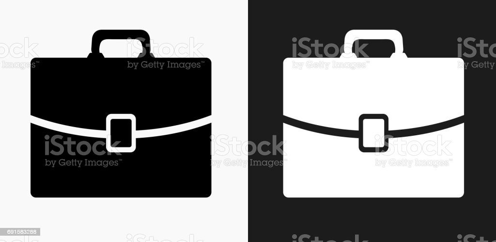 Briefcase Icon on Black and White Vector Backgrounds vector art illustration