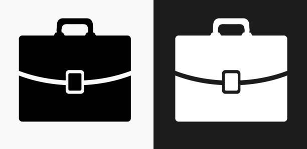 illustrazioni stock, clip art, cartoni animati e icone di tendenza di briefcase icon on black and white vector backgrounds - borsa 24 ore