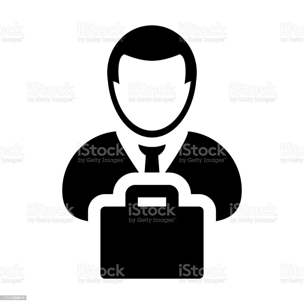 Briefcase Icon Vector Male Person Profile Avatar Symbol For