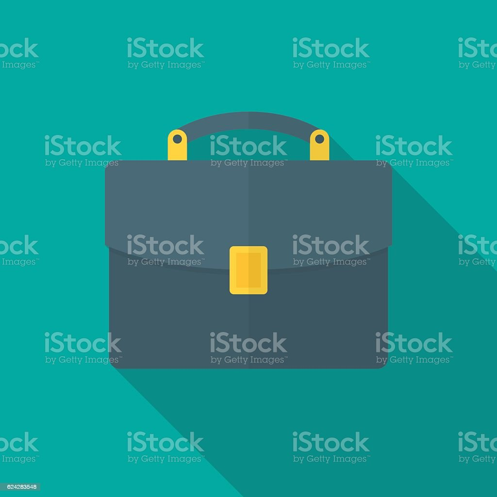Briefcase icon with long shadow. vector art illustration