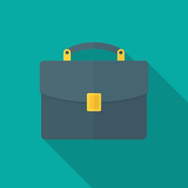 illustrazioni stock, clip art, cartoni animati e icone di tendenza di briefcase icon with long shadow. - borsa 24 ore