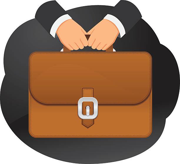 aktentasche in den händen - lederranzen stock-grafiken, -clipart, -cartoons und -symbole