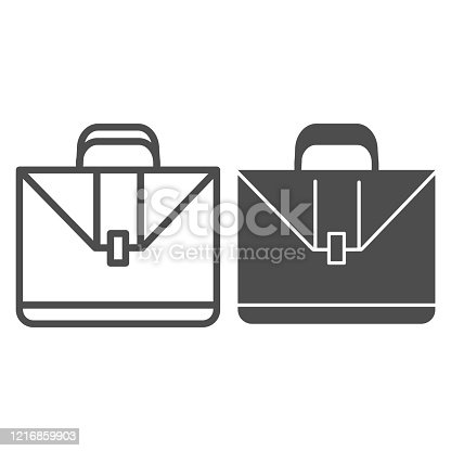 istock Briefcase line and glyph icon. Classic suitcase or case bag with handle symbol, outline style pictogram on white background. Business sign for mobile concept and web design. Vector graphics. 1216859903