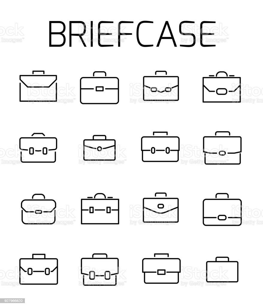 Briefcase related vector icon set. vector art illustration