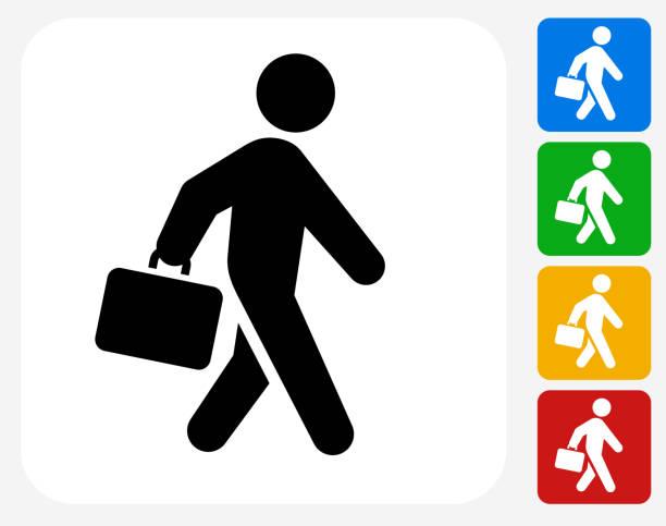 aktentasche strichmännchen symbol flache grafik design - berufstätige männer stock-grafiken, -clipart, -cartoons und -symbole